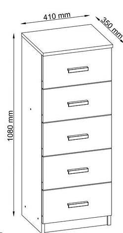 Комод узкий с 5-мя выдвижным ящиками 41 см, цвет белый, фото 2