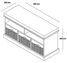 Банкетка в прихожую белая c 3-мя ящиками, фото 3