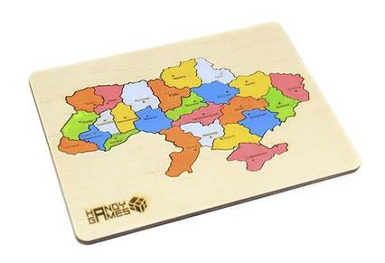 Дерев'яний пазл Карта України 24 деталі 240х180 мм