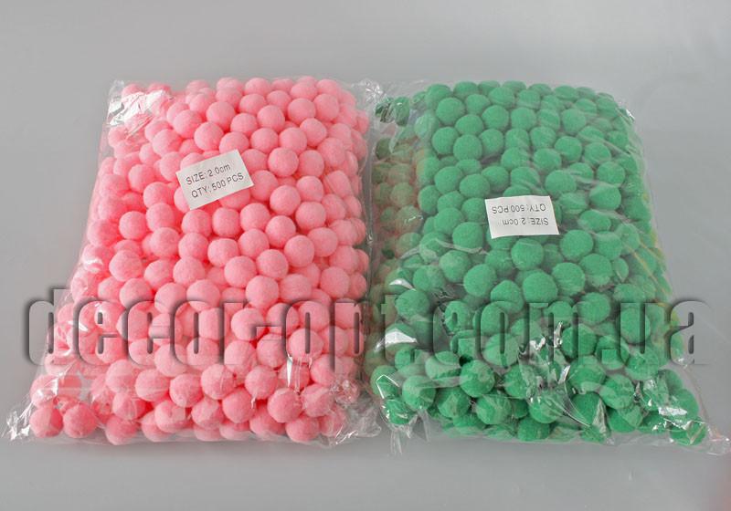 Помпоны бархатные однотонные d2см/500шт
