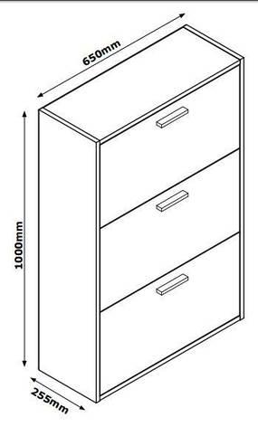 Шкаф для обуви белый с 3-мя отделениями, фото 2