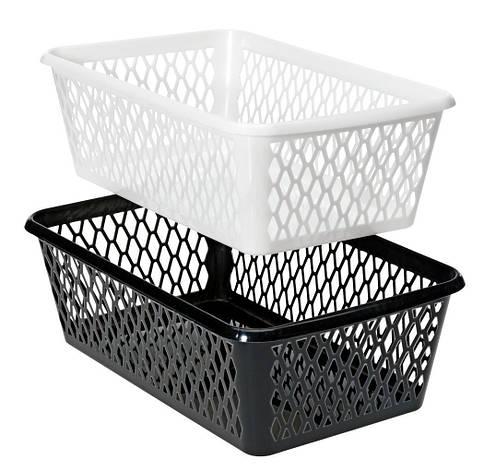 Ящик пластиковый для хранения 14Х24 см черные и белые, фото 2
