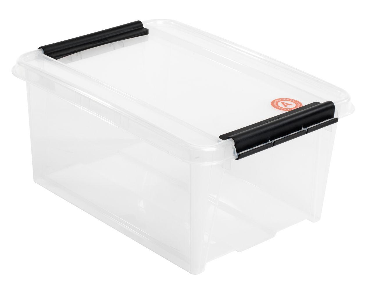 Ящик пластиковый для хранения прозрачный 14 л. с крышкой
