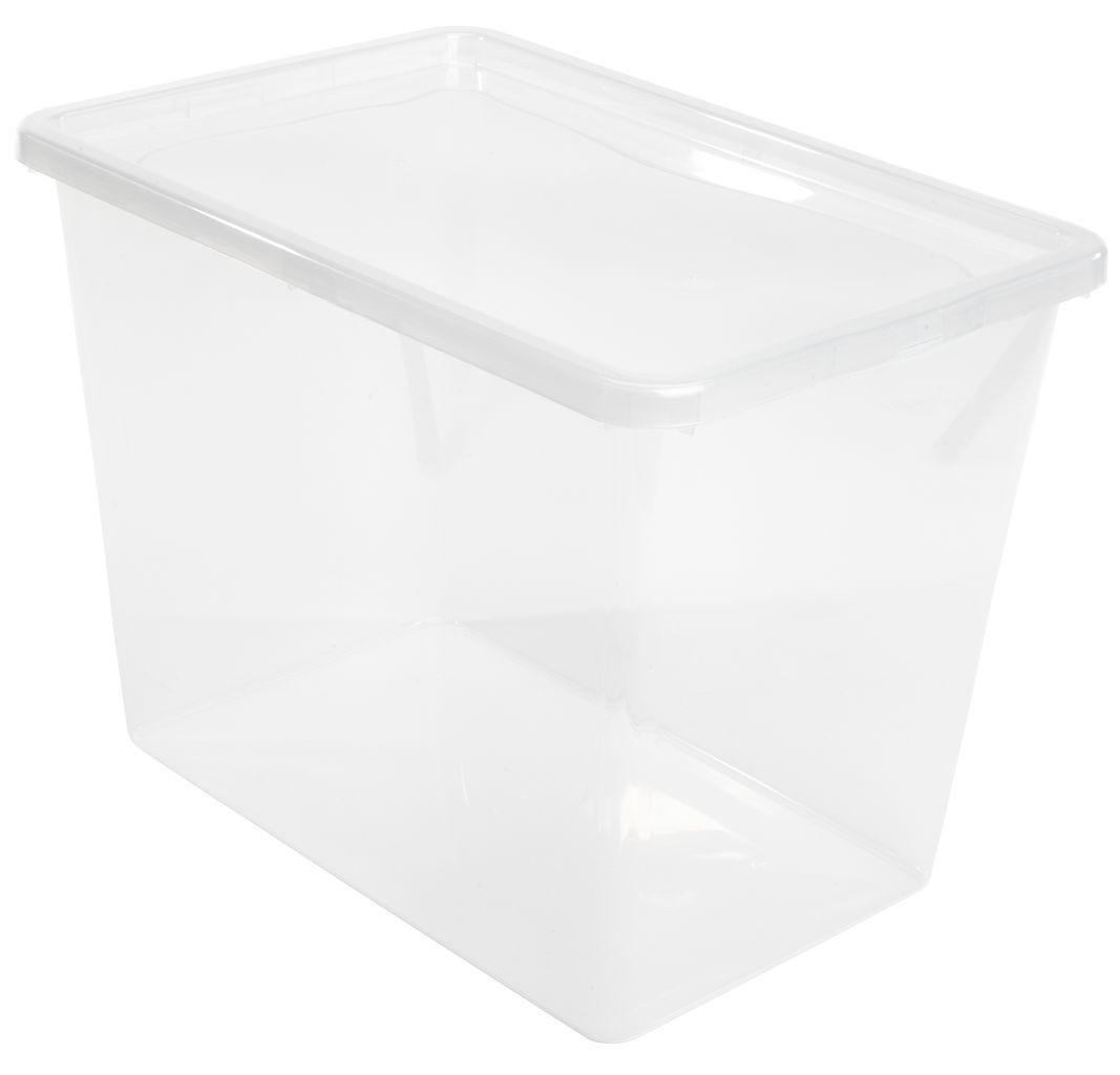 Большой ящик короб пластиковый прозрачный на 80 л с крышкой