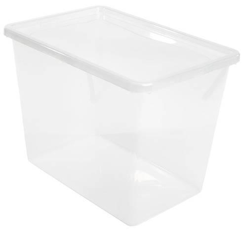 Большой ящик короб пластиковый прозрачный на 80 л с крышкой, фото 2