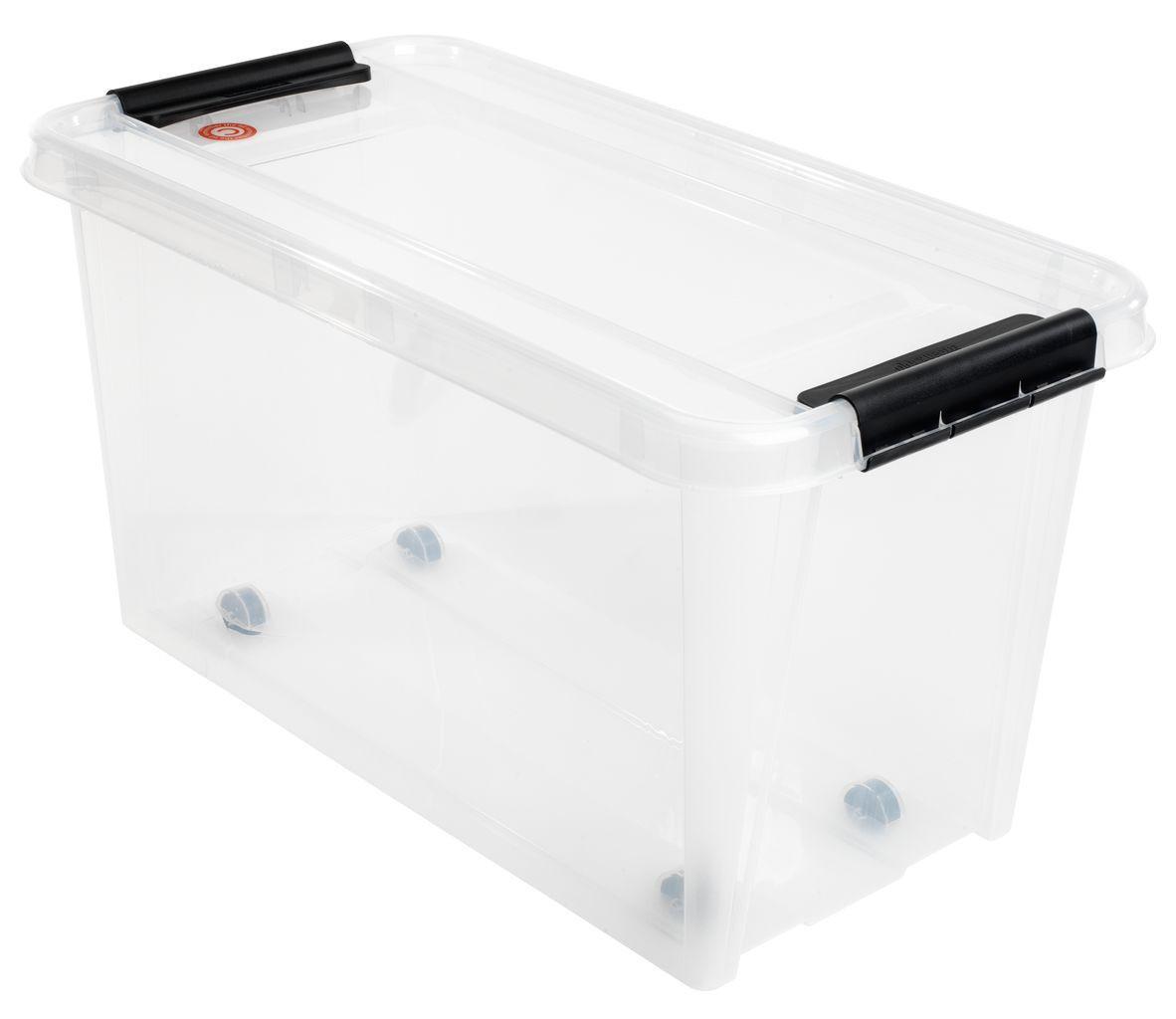 Большой ящик прозрачный пластиковый для хранения с крышкой 70л