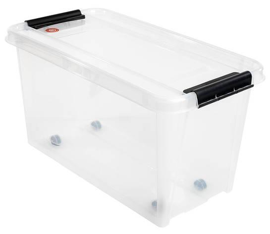 Большой ящик прозрачный пластиковый для хранения с крышкой 70л, фото 2
