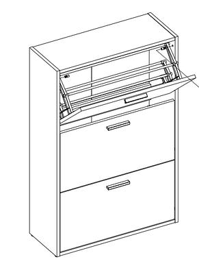 Шкаф для обуви 3 отделения, дуб, фото 2