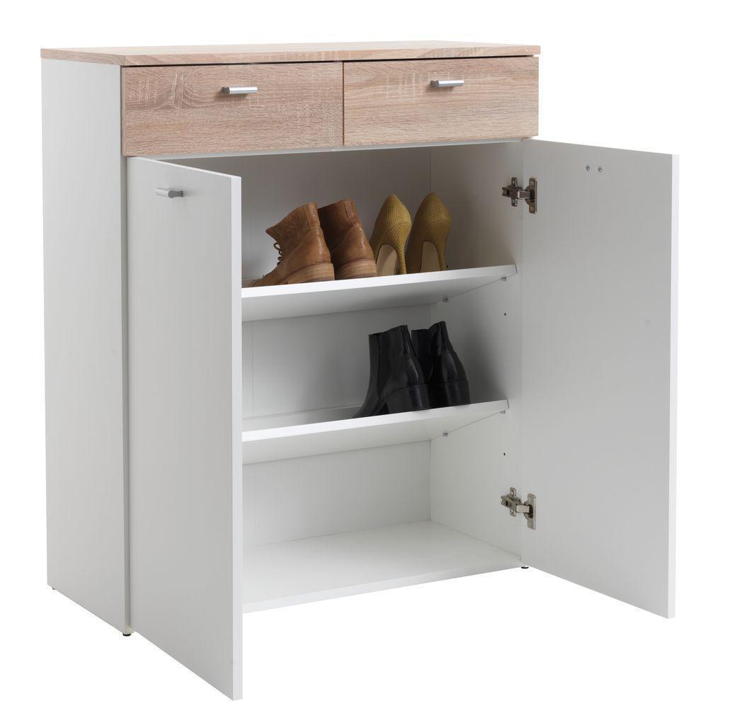 Шкаф для обуви белый / дуб (3 полки и 2 выдвижных ящика)