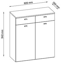Шкаф для обуви белый / дуб (3 полки и 2 выдвижных ящика), фото 2