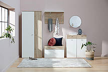 Шкаф для обуви белый / дуб (3 полки и 2 выдвижных ящика), фото 3