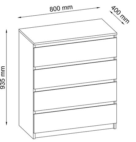 Комод белый на 4 выдвижных ящика, фото 2