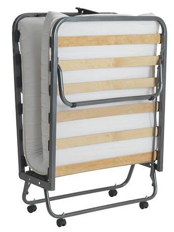 Раскладушка с ламелями 80x200см на колесиках и матрацем, фото 2
