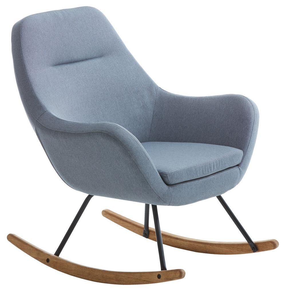Стильное тканевое Кресло-качалка (светло голубая)