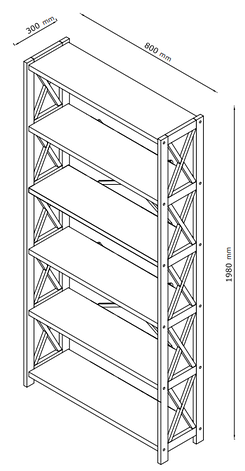 Стелаж білий на 6 полиць (Масив сосни), фото 2