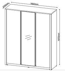 Шкаф распашной с зеркалом на 3 двери, фото 2