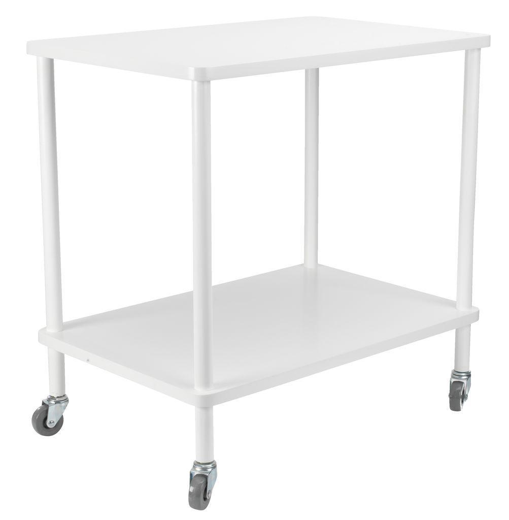 Этажерка - столик белая на колесиках