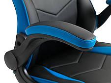Кресло компьютерное - геймерское черно синее (откидные подлокотники), фото 3