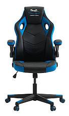 Кресло компьютерное - геймерское черно синее (откидные подлокотники), фото 2