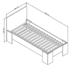 Кровать односпальная с основой - ламели 90x200см дикий дуб, фото 2