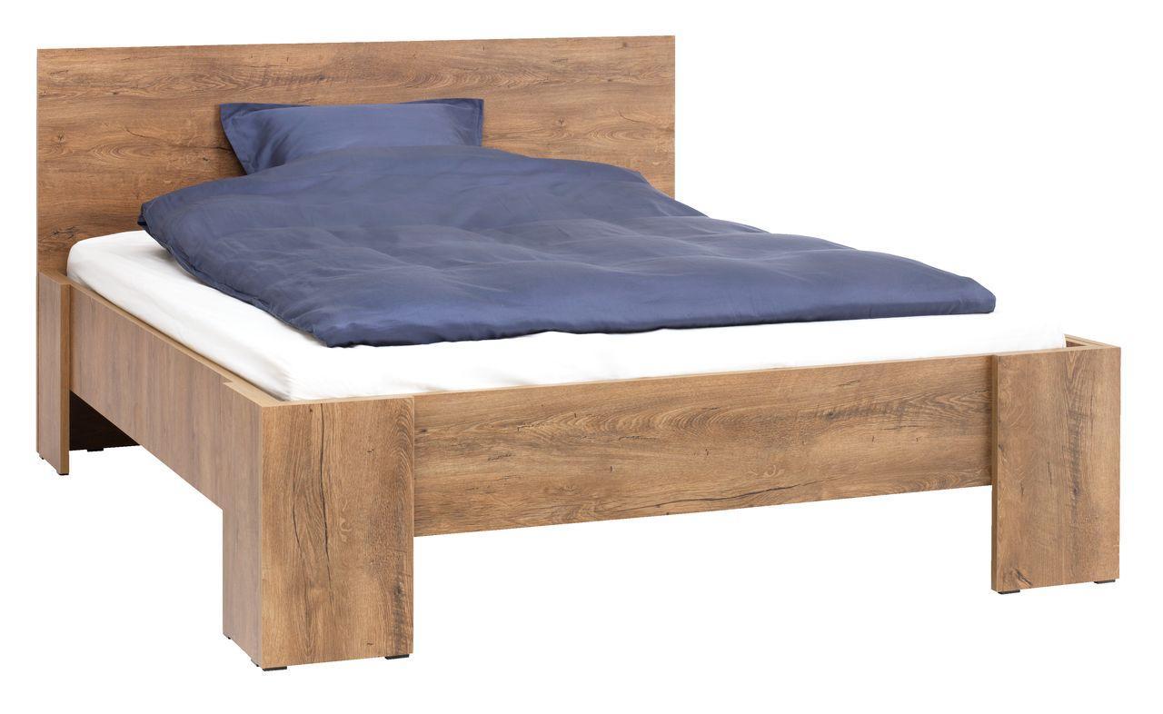 Кровать двуспальная с основой - ламели 160 x200см дикий дуб