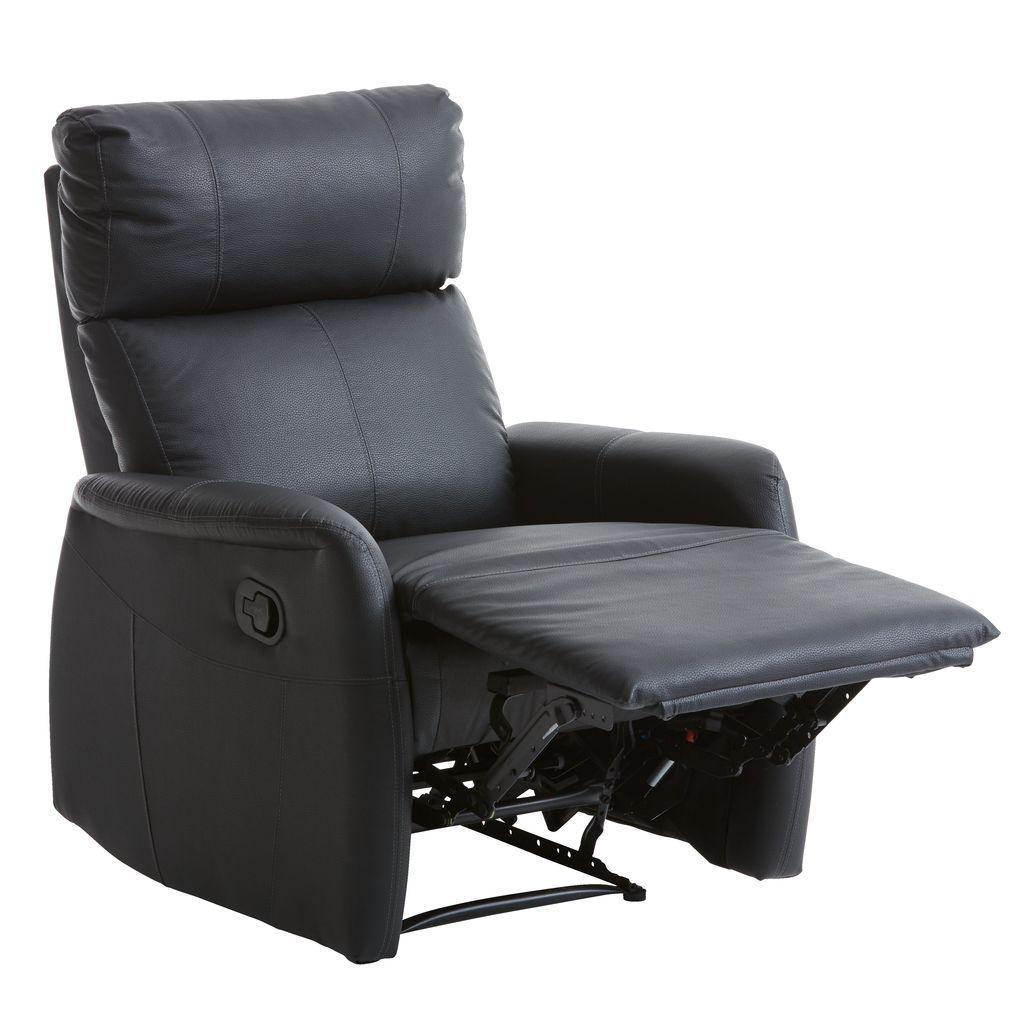 Кресло многопозиционное с выдвижным механизмом для ног из искусственной кожи