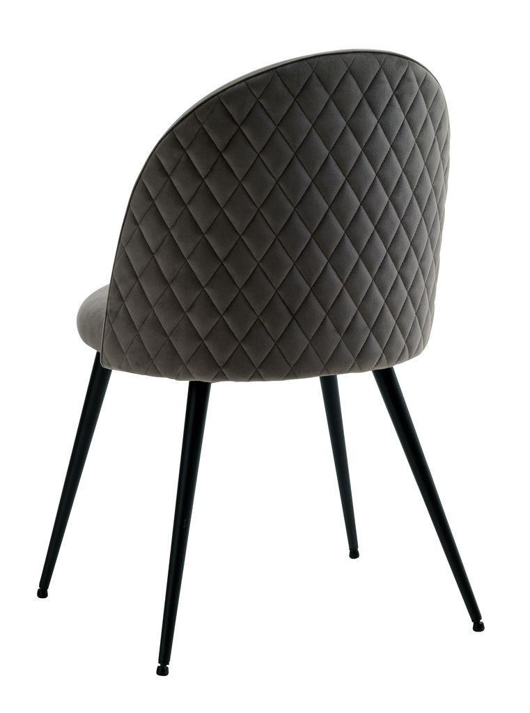 Обідній стілець м'який сірий тканинний на чорних ніжках