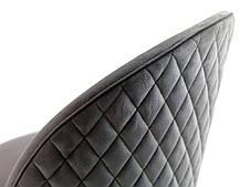 Обідній стілець м'який сірий тканинний на чорних ніжках, фото 2