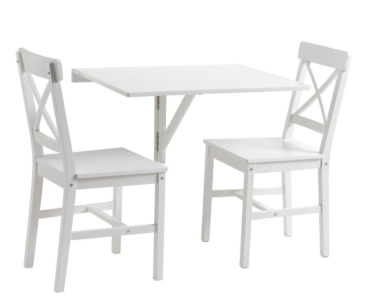 Комплект белой мебели для балкона (приставной складной столик и 2 стула)
