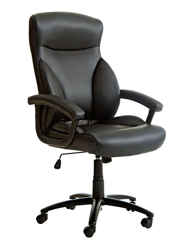 Крісло офісне чорне із штучноі шкіри с кутом нахилу  (крісло керівника)