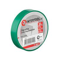 Лента изоляционная 0.15мм*17мм*20м зеленая INTERTOOL IT-0051, фото 1