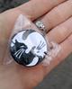 Брошь брошка значок пин кот кошка металл эмаль любовь черный и белый инь янь монада, фото 4