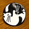 Брошь брошка значок пин кот кошка металл эмаль любовь черный и белый инь янь монада, фото 5