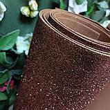 Фоамиран глиттерный коричневый 2 мм рулонный, фото 3