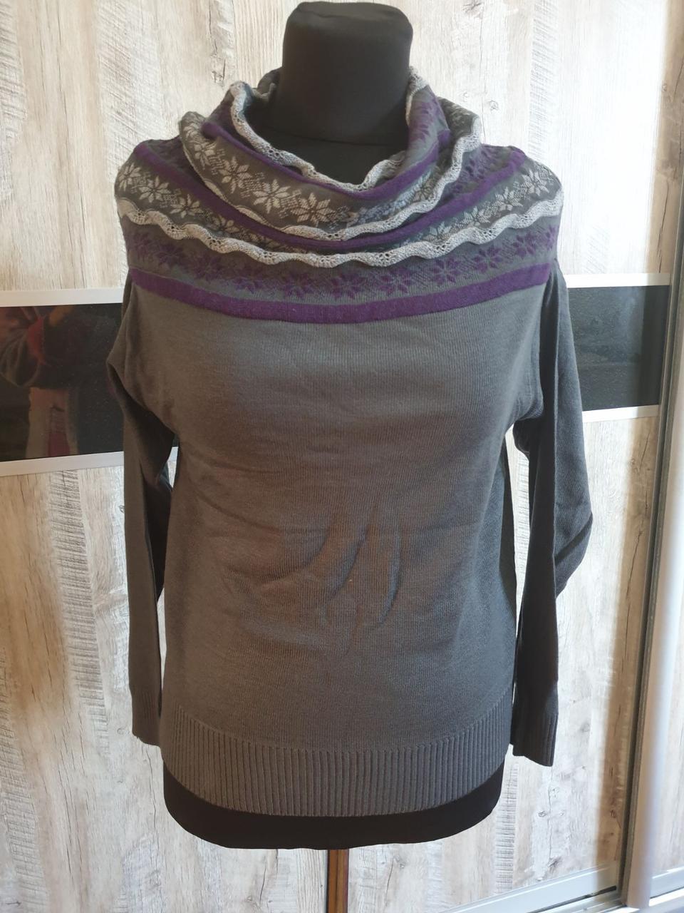 Женский свитер с эффектным воротником, размер 44-46, цвет серый
