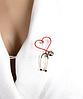 Брошь брошка знак врач доктор фонендоскоп стетоскоп золотистый красное сердце слушалка медсестра, фото 2