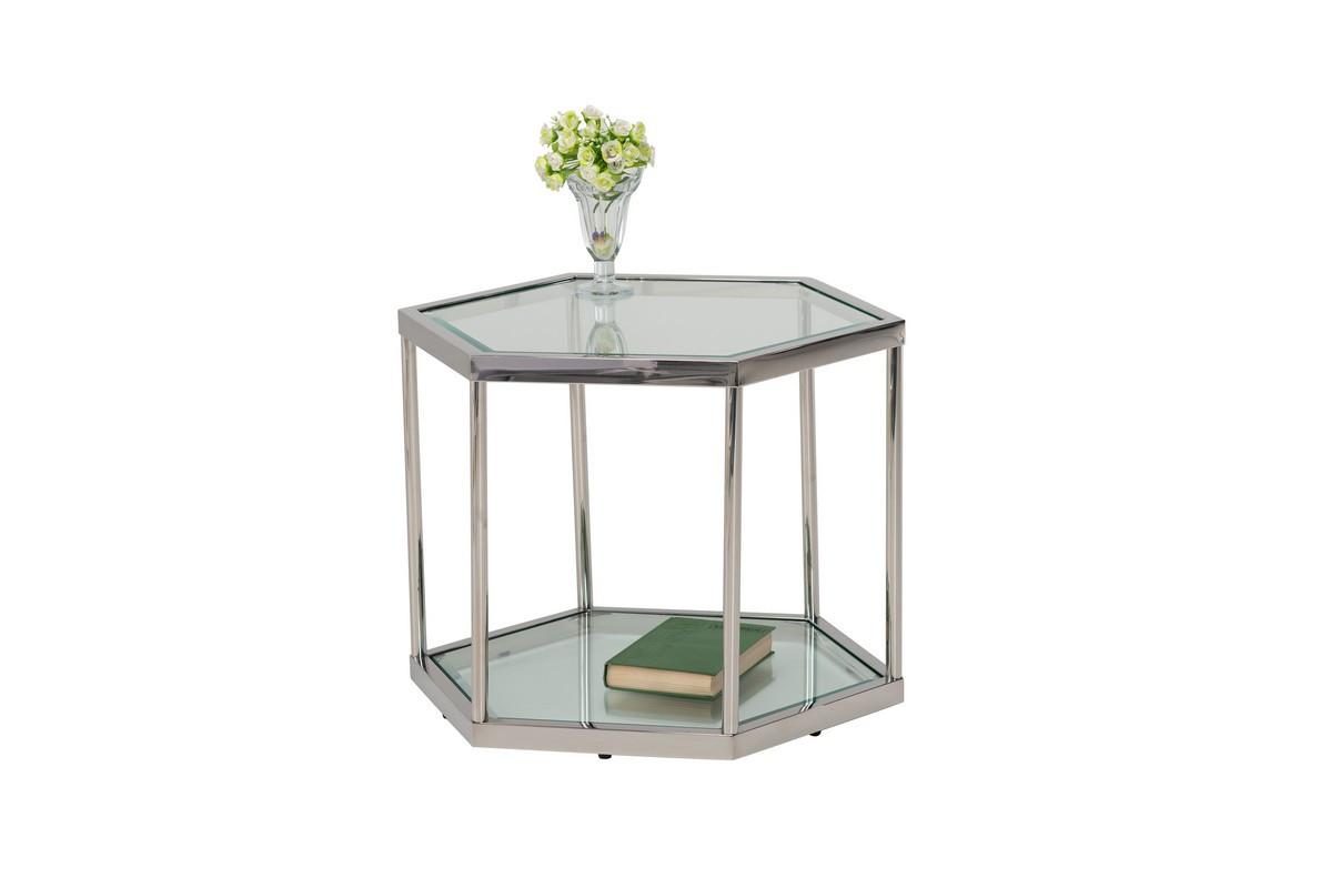 Кавовий стіл CK-2 прозорий + срібло Vetro Mebel ™