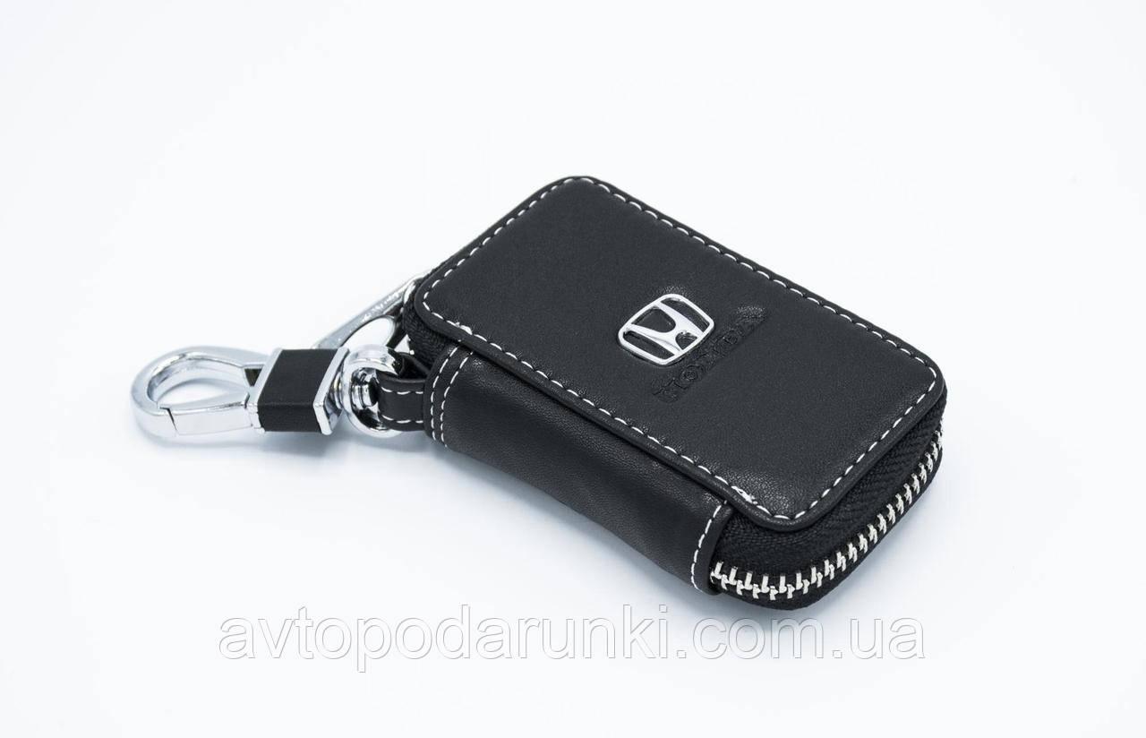 Ключница HONDA, кожаная автоключница с логотипом  ХОНДА (черная 08011)
