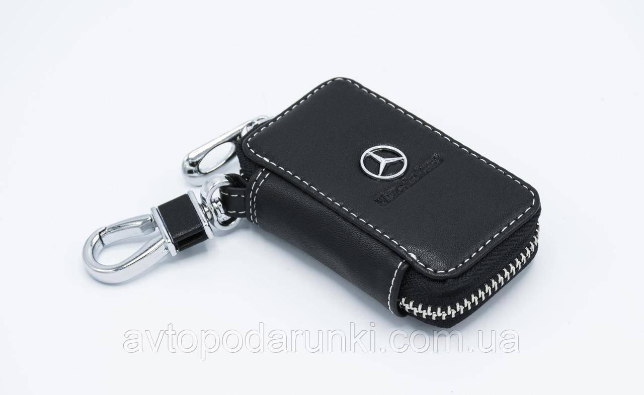 Ключница MERCEDES, кожаная автоключница с логотипом  МЕРСЕДЕС (черная 02011)