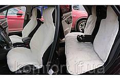 Комплект на всю машину - накидки на заднее сиденье автомобиля из натурального меха овчины (мутона) белый