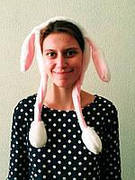 Новогодний обруч на голову уши зайца белые светящиеся уши вверх