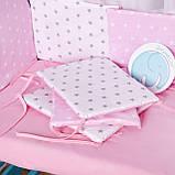 Защита в кроватку и постельный  комплект c подушкой и одеялом Эко, розово-белые звездочки, фото 3
