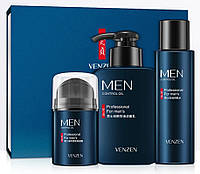 Подарочный набор мужской косметики для ухода Venzen Men 3 в 1 с контролем жирности кожи
