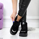 Высокие замшевые черные зимние кроссовки + светоотражающие вставки, фото 2