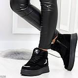 Высокие замшевые черные зимние кроссовки + светоотражающие вставки, фото 3
