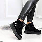 Высокие замшевые черные зимние кроссовки + светоотражающие вставки, фото 4
