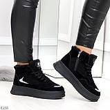 Высокие замшевые черные зимние кроссовки + светоотражающие вставки, фото 5