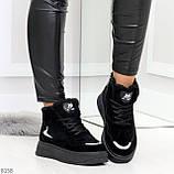 Высокие замшевые черные зимние кроссовки + светоотражающие вставки, фото 6