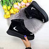 Высокие замшевые черные зимние кроссовки + светоотражающие вставки, фото 7