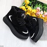 Высокие замшевые черные зимние кроссовки + светоотражающие вставки, фото 8